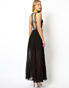 Brand Asos. New maxi dress without tags. Description: Made from a delicate sheer chiffon- Deep v-neckline- Embellished strap design- Bead detailing- Softly pleated sheer overlay- Concealed zip back fastening- Regular fit.