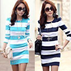 Fashion Long Sleeve Stripe Patterned One-piece Mini Dress for Woman Lady NWO-123358