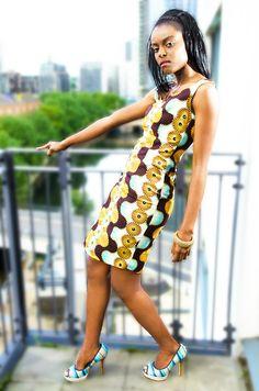 ♥African Fashion ● Blue, Gold, & Brown African Ankara Print; Rhinestone
