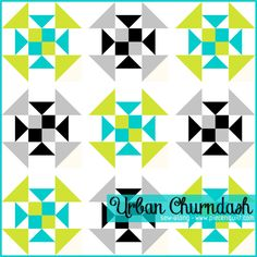 Urban Churndash Block Quilt - Piece together the Urban Churndash Block Quilt several times over to create a throw or lap quilt that will add some serious fun and modern quilting to your home. This jumbo quilt block pattern goes together quickly and is an easy quilting pattern to create, making it the perfect beginner pattern. If you really want to get funky with this pattern, create it in some bright and neon colors.