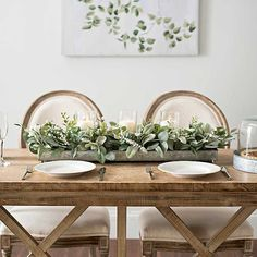 Elegant Dining Table Centerpieces Green Eucalyptus Galvanized Centerpiece from Kirkland's Landscapin Dinning Room Table Decor, Farmhouse Dining Room Table, Deco Table, Dining Table Decor Everyday, Farm Table Decor, Accent Table Decor, Farmhouse Tabletop, Barn Table, Kitchen Tables