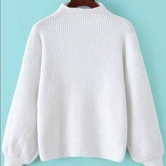 Sweater White Mock Neck Lantern Sleeve Crop Sweater. Good quality. Sweaters