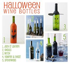 super cute spray painted wine bottles for halloweenie!