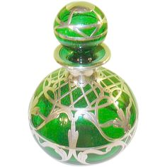 Art Nouveau Green Perfume Bottle Silver Overlay http://www.rubylane.com/search/,c=All_Items_on_Ruby_Lane,types=redtag  #RubyRedTagSale