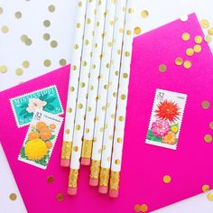 These gold dotted pencils are just about the cutest thing ever and will dress up any office space. These make the perfect gift or stocking stuffer!