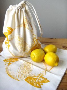 Reusable Cotton Produce Bags - Set of 2 - Screen Printed Natural Cotton Produce Bags - Reusable and Washable - Bulk Grocery Bags - Citrus