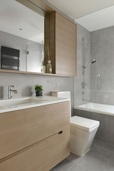 Making minimalism pop in a Hong Kong apartment Condo Bathroom, Bathroom Toilets, Bathroom Renos, Modern Bathroom, Bathroom Green, Bathroom Kids, Bathroom Flooring, Bathroom Mirror Cabinet, Small Bathrooms