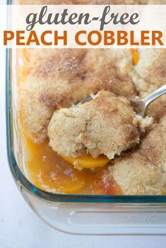 This Gluten-Free Peach Cobbler has a fluffy cake topping and is EASY to make from scratch! It can be made with fresh, frozen or canned peaches so you can enjoy it year-round. The perfect easy, gluten-free dessert for any occasion!