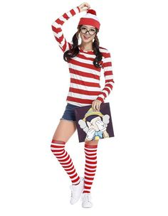 Product Code: MHC0230071 Package included: glasses,hat,top, and stocking Gender: Female Age Group: Adult Color:red Pattern: wally costume Material: Polyester Fiber 2016 the latest Halloween costumes a