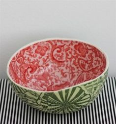 Porcelain Watermelon Bowls - I will be making some of these if its the last thing info!  I'm sure they won't be as pretty but I'm going to attempt it anyway!