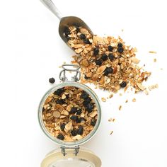 Blueberry Almond Granola *** -4 Tbsp Honey, Pecans, crunchy Grape Powder, Unsweetened Coconut. Can also add Chia and Sesame Seeds and Cinnamon.