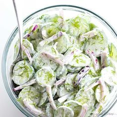 The best easy, creamy cucumber salad recipe ever! It takes just minutes to throw together, uses simple ingredients, and stores well, too.