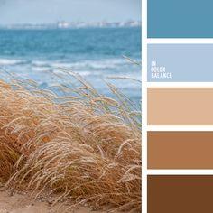 azul oscuro y marrón, beige, celeste y marrón, color anea seca, color arena, color azul marino, color del agua, color trigo, elección del color, matices cálidos y fríos, matices del azul oscuro, temática marina, tonos celestes y marrones.