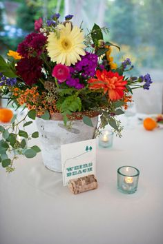 Lakeside Wedding Centerpieces - big fan of everything at this wedding, especially these 'wildflower' centerpieces (also like the guys in vests)