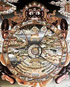 Tibetan Mandala, Tibetan Art, Tibetan Buddhism, Buddhist Words, Buddhist Art, Thangka Painting, Buddhist Philosophy, Wheel Of Life, Esoteric Art