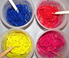 Spaghetti painting... would be fun to do it with edible paints!
