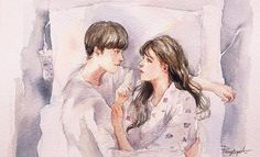 W Two Worlds, Second World, Korean Drama, Kdrama, Feelings, Painting, Couple, Painting Art, Paintings