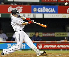 Hideto Asamura smashes a leadoff solo home run, his 5th of the year, to left field on the 1st pitch from Mitsuo Yoshikawa to cut the Lions' deficit to 2-1 in the bottom of the 1st inning at Seibu Dome on Friday, September 21, 2012.