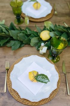Place setting from a Rustic Lemon Themed Baby Shower on Kara's Party Ideas | KarasPartyIdeas.com (28)
