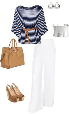 #summer #outfits / Stripes Blouse + White Casual Pants