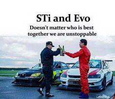 Subaru and evo Unstoppable togather Car Jokes, Car Humor, Subaru Impreza Sti, Wrx Sti, Evo, Funny Car Quotes, Old Corvette, Japanese Sports Cars, Mitsubishi Motors