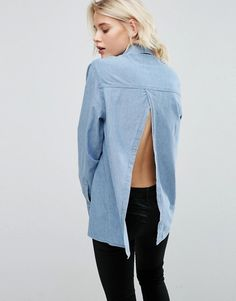 ASOS | ASOS Denim Shirt With Open Back in Mid Wash Blue