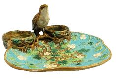 GEORGE JONES MAJOLICA THRUSH STRAWBERRY SERVER