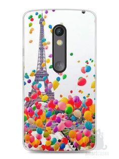 Capa Capinha Moto X Play Torre Eiffel e Balões