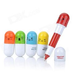 Cute Pill Style Retractable Blue Ink Ballpoint Pens (5 PCS / Random Color)