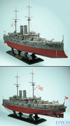 1/350 IJN Mikasa Imperial Japanese Navy flagship of Admiral Heihachiro Togo during the Russo-Japanese War. Built in England by Vickers, Sons, & Maxim for the IJN, it was the most powerful battl...