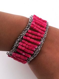 bead cuff bracelet - headpins strung with beads connected to chains on either end