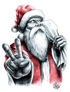 santa claus by on DeviantArt Merry Christmas, Dark Christmas, Christmas Scenes, Xmas, Dark Drawings, Cartoon Drawings, Comic Cat, Santa Claus Drawing, Santa Claus House