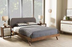 Baxton Studio Penelope Solid Walnut Wood Grey Upholstered Queen Size Platform Bed
