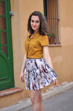 #emerjadesign with a mustard vintage blouse made by #silviabalmaseda
