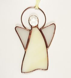 Stained Glass Suncatcher Angel inch tall, cream and white color glass, copper color metal, handmade Stained Glass Angel, Stained Glass Ornaments, Stained Glass Christmas, Stained Glass Suncatchers, Angel Crafts, Copper Color, How To Make Ornaments, Glass Jewelry, Glass Art