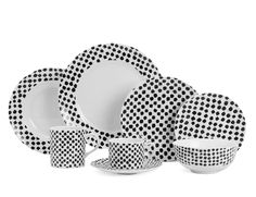 KELLY WEARSTLER | DOTS 8 PIECE PLATE SETTING. Black on white casual china collection