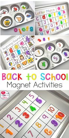 Back to School Activities with Magnets. Back to School Kindergarten. Back to School PreSchool. Back to School Word Work. Toddler Learning Activities, Letter Activities, Back To School Activities, Preschool Activities, Back To School For Preschoolers, Preschool Body Theme, School Ideas, School School, School Style