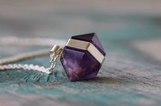 Banded Amethyst Necklace  Fine Silver by GATHERJEWELRY on Etsy, $68.00