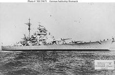 Bismarck (German Battleship, 1940-41)  Photographed circa August 1940, when first completed. Rangefinders atop her tower and conning tower have not yet been installed.