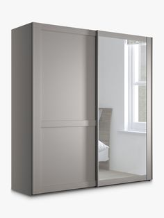 Buy Pebble Grey John Lewis & Partners Marlow Mirrored Sliding Door Wardrobe from our Wardrobes range at John Lewis & Partners. External Lighting, 2 Door Wardrobe, Pebble Grey, Hanging Rail, Types Of Doors, Marlow, Particle Board, Bedroom Storage, Home Collections