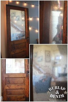 """Door from the dump gets stained, painted, and an """"antiqued"""" mirror (tutorial included)"""