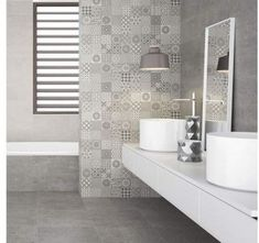 These grey Mineral Haze Patchwork Wall Tiles have a Moroccan patterned look; ideal for creating a characterful feature wall in a bathroom or kitchen space. Cream Kitchen Tiles, Cream Bathroom, Kitchen Wall Tiles, Grey Bathrooms, Small Bathroom, Slate Wall Tiles, Ceramic Wall Tiles, Grey Tiles, Bathroom Feature Wall