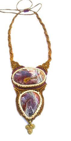 Pazzo bronzo marrone agata pizzo & viola con tribale bohamian ottone perline fatte a mano con amore & cura    Crazy Lace Agate è chiamata pietra di