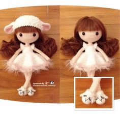 Sweet little dolly in sheep hat and shoes
