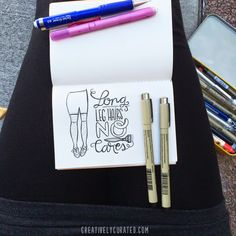 LONG LEG HAIRS NO CARES by Sandi Devenny #sandidoodles #art #illustration #lettering #handmade #creativelycurated #lettering