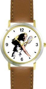 Best Price Woman Tennis Player No.1 Tennis Theme - WATCHBUDDY® DELUXE TWO-TONE THEME WATCH - Arabic Numbers - Brown Leather  The best prices online - http://greatcompareshop.com/best-price-woman-tennis-player-no-1-tennis-theme-watchbuddy-deluxe-two-tone-theme-watch-arabic-numbers-brown-leather-the-best-prices-online