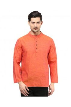 Peach Cotton Kurta for Mens