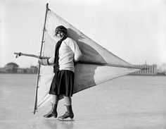 """""""Lady Skater Tried Out a Sail"""" by Leslie Jones c. 1930.  Courtesy of the Boston Public Library, Leslie  Jones Collection"""