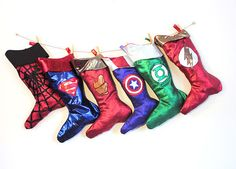 The perfect Christmas Stockings for the Superhero fans. Have an impressive decor for the festive season.    These handmade Superhero