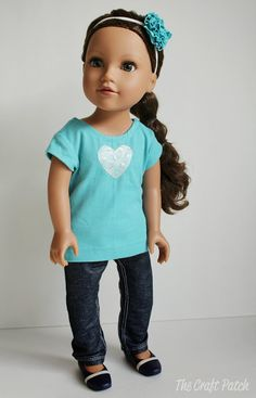 Clothes you can make for your American Girl doll... two skirts, a t-shirt and a pair of skinny jeans.